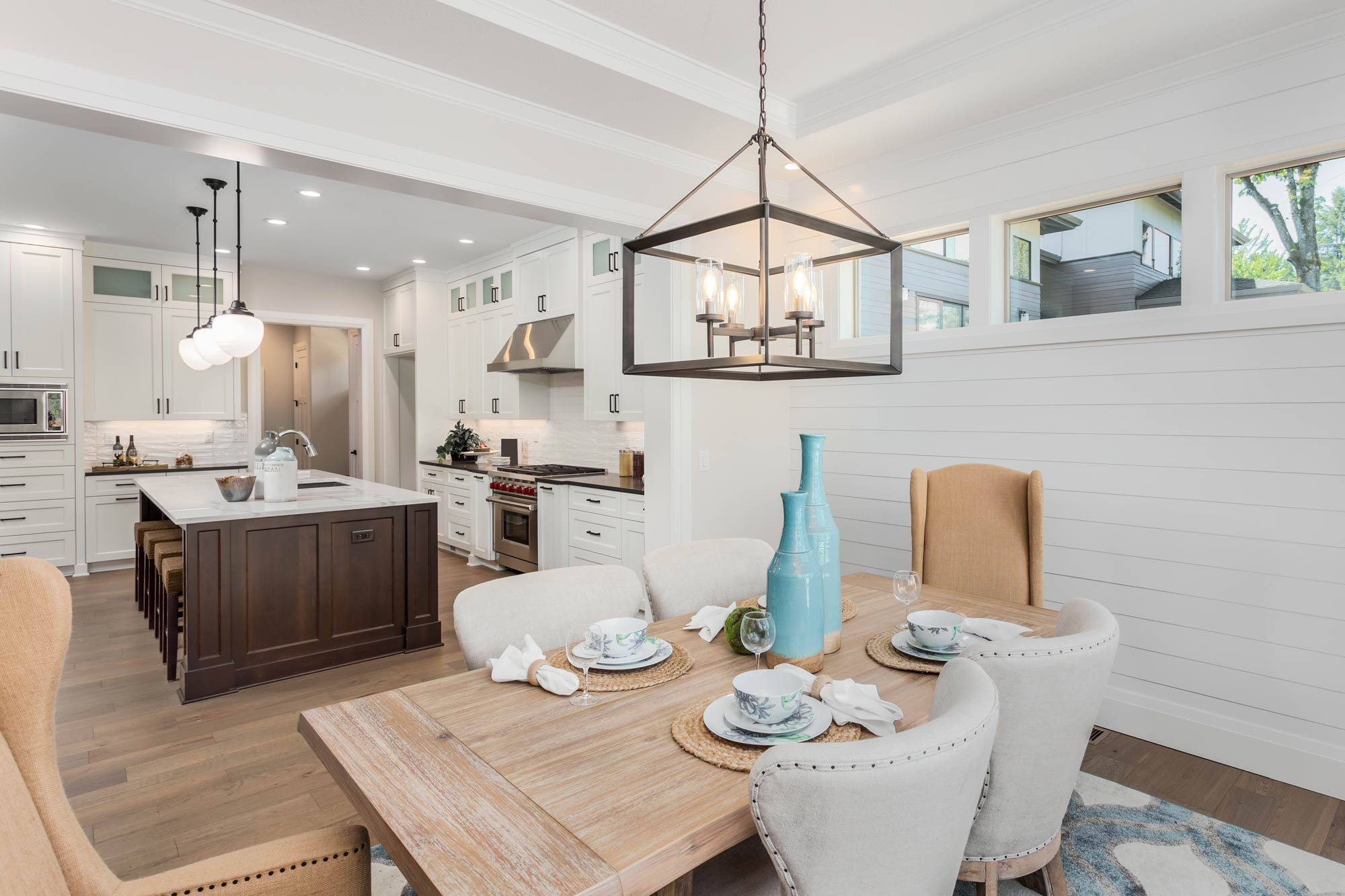 transitional kitchen, white kitchen, stained island, shiplap, furniture island