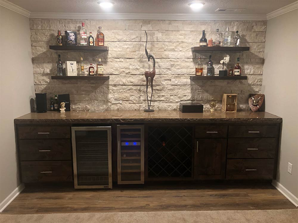 dry bar concrete counter top
