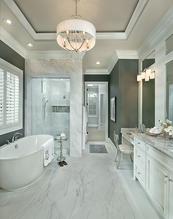Master bathroom, marble bathroom, marble shower, free-standing tub, bathroom remodel